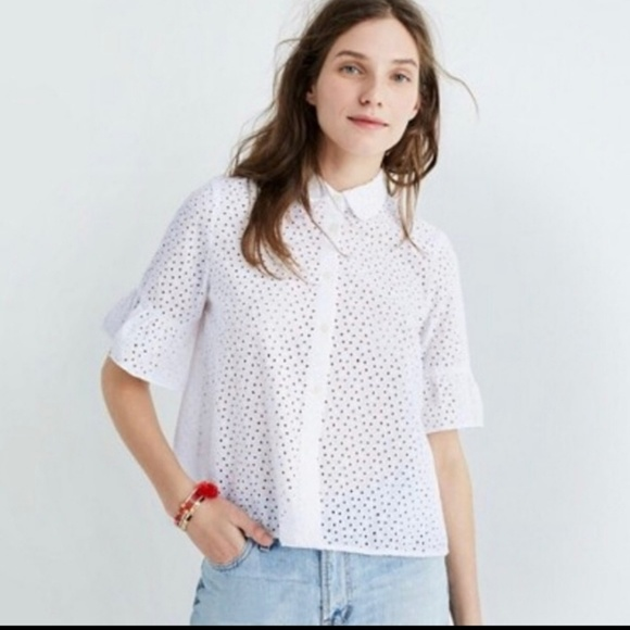 Madewell Tops - Madewell white eyelet top short bell sleeve